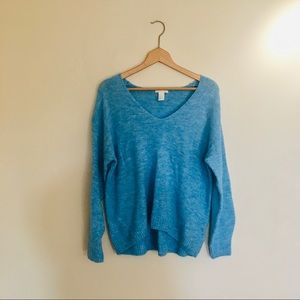 h&m / cozy v-neck cozy blue long sleeve sweater